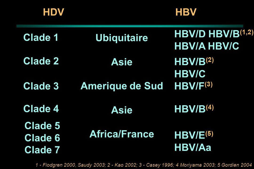 HDVHBV Clade 1 Ubiquitaire Asie Amerique de Sud Asie Africa/France HBV/D HBV/B (1,2) HBV/A HBV/C HBV/B (2) HBV/C Clade 3HBV/F (3) Clade 4 HBV/B (4) Cl