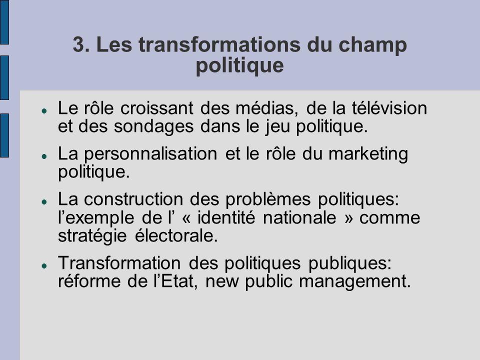 3. Les transformations du champ politique Le rôle croissant des médias, de la télévision et des sondages dans le jeu politique. La personnalisation et
