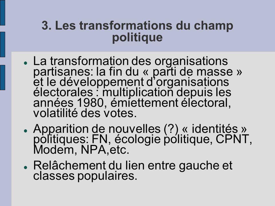 3. Les transformations du champ politique La transformation des organisations partisanes: la fin du « parti de masse » et le développement dorganisati