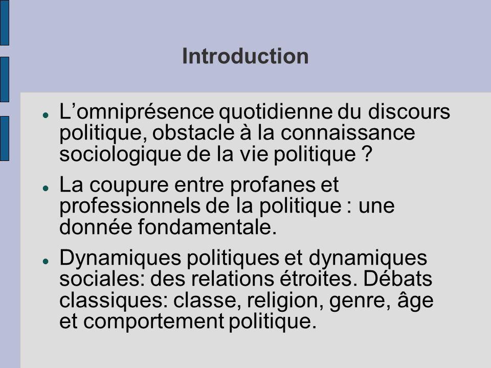 Introduction Lomniprésence quotidienne du discours politique, obstacle à la connaissance sociologique de la vie politique ? La coupure entre profanes