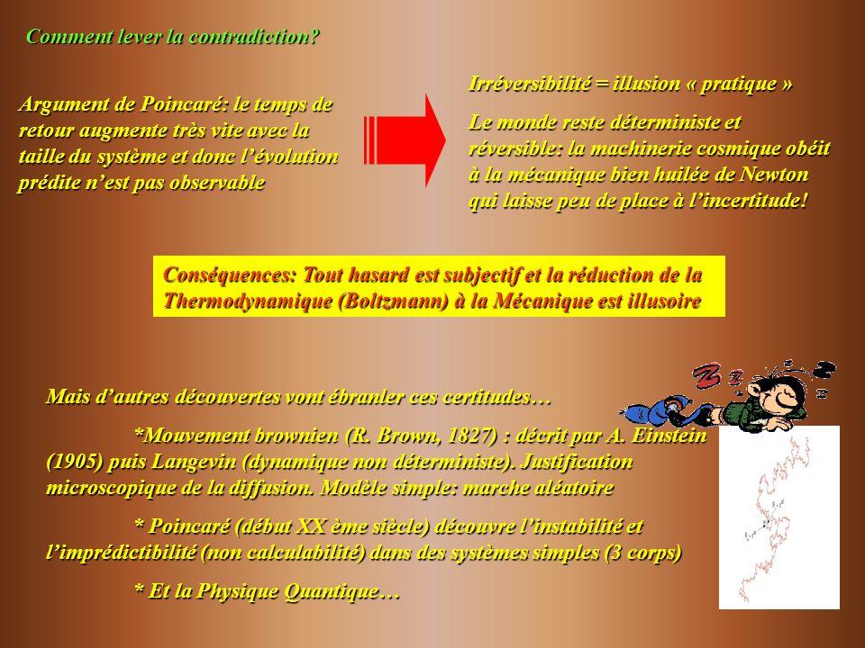 Comment lever la contradiction? Argument de Poincaré: le temps de retour augmente très vite avec la taille du système et donc lévolution prédite nest