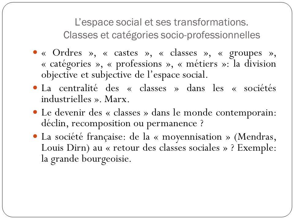 Lespace social et ses transformations. Classes et catégories socio-professionnelles « Ordres », « castes », « classes », « groupes », « catégories »,