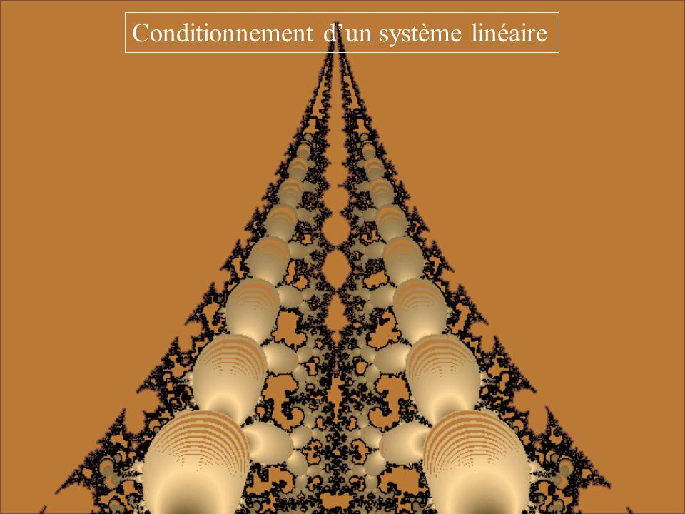 Un système linéaire Au = b est autant mieux conditionné que le nombre cond (A) est voisin de 1. Conditionnement dun système linéaire