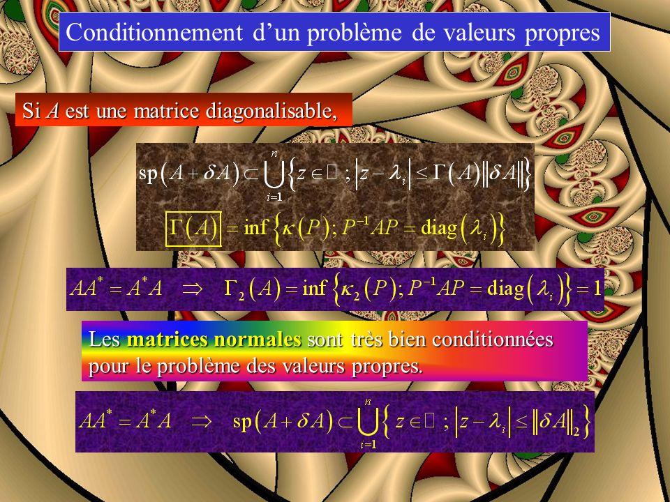 Conditionnement dun problème de valeurs propres Si A est une matrice diagonalisable, conditionnement de A relativement au calcul de ses valeurs propre