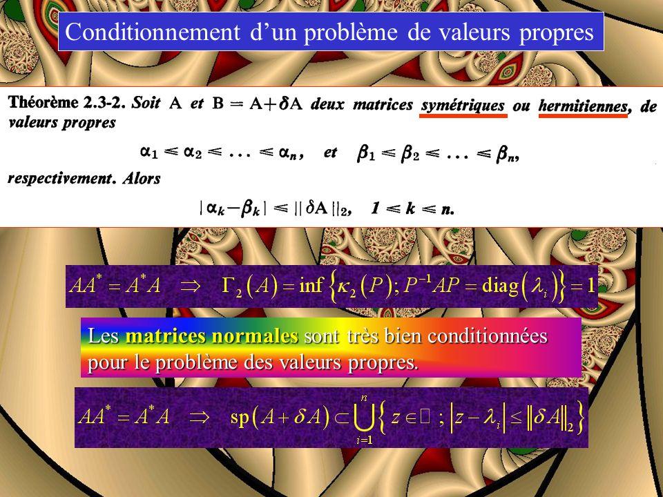 Conditionnement dun problème de valeurs propres Si A est une matrice diagonalisable, Les matrices normales sont très bien conditionnées pour le problè
