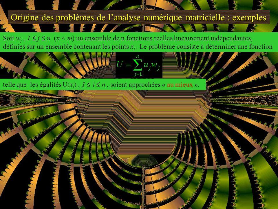 Origine des problèmes de lanalyse numérique matricielle : exemples Approximation par les moindres carrées regression linéare