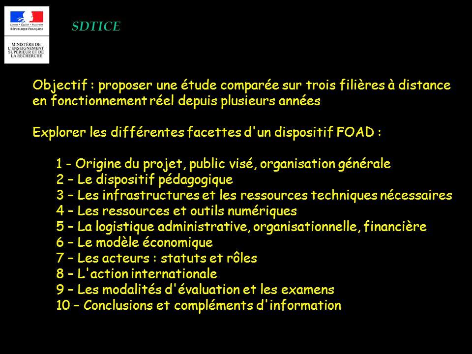 SDTICE Objectif : proposer une étude comparée sur trois filières à distance en fonctionnement réel depuis plusieurs années Explorer les différentes fa