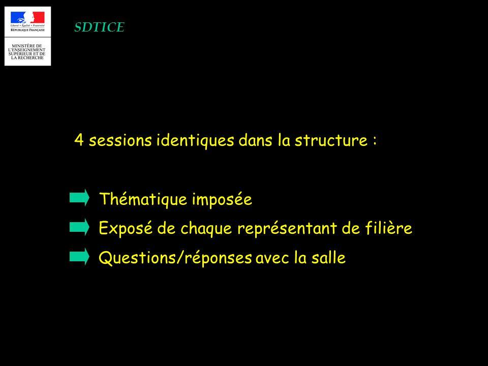 SDTICE 4 sessions identiques dans la structure : Thématique imposée Exposé de chaque représentant de filière Questions/réponses avec la salle