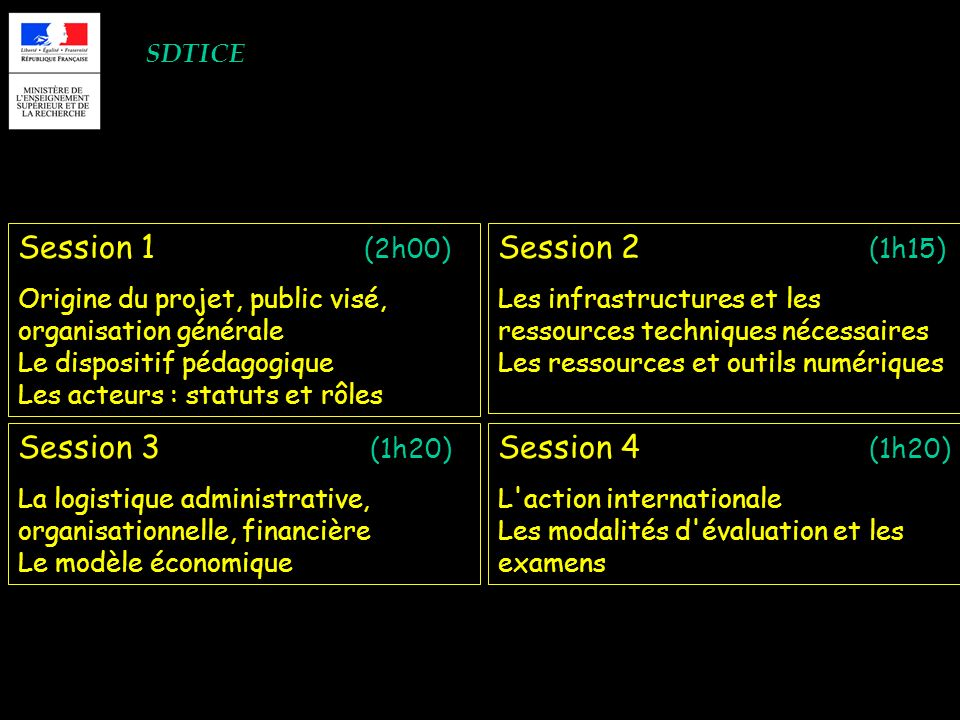 SDTICE Session 1 (2h00) Origine du projet, public visé, organisation générale Le dispositif pédagogique Les acteurs : statuts et rôles Session 2 (1h15