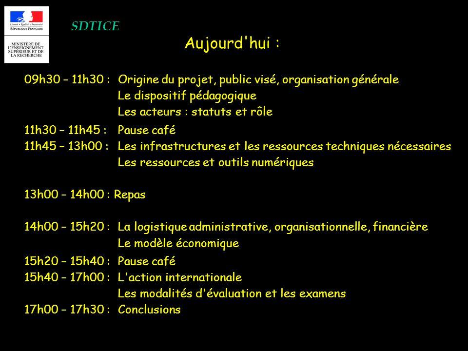 SDTICE 09h30 – 11h30 : Origine du projet, public visé, organisation générale Le dispositif pédagogique Les acteurs : statuts et rôle 11h30 – 11h45 : P