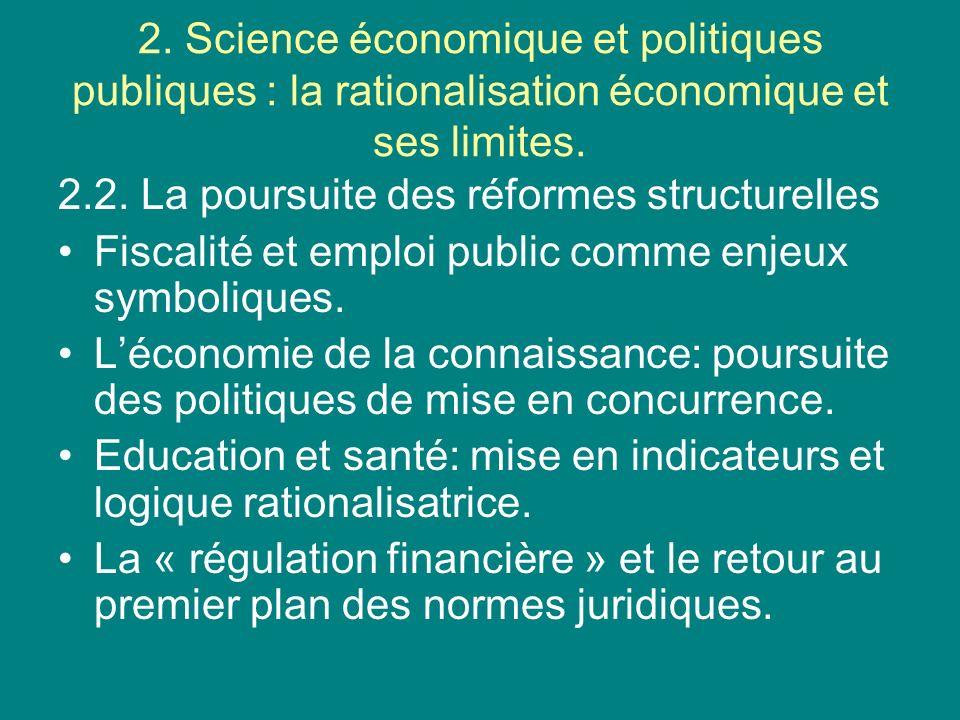 2. Science économique et politiques publiques : la rationalisation économique et ses limites. 2.2. La poursuite des réformes structurelles Fiscalité e