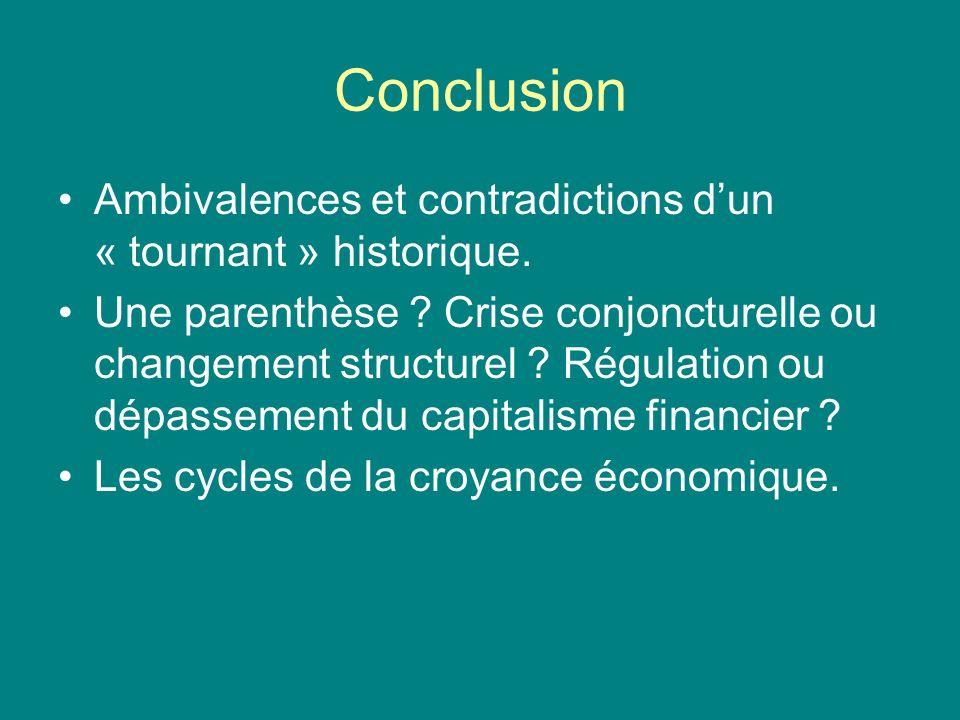 Conclusion Ambivalences et contradictions dun « tournant » historique. Une parenthèse ? Crise conjoncturelle ou changement structurel ? Régulation ou