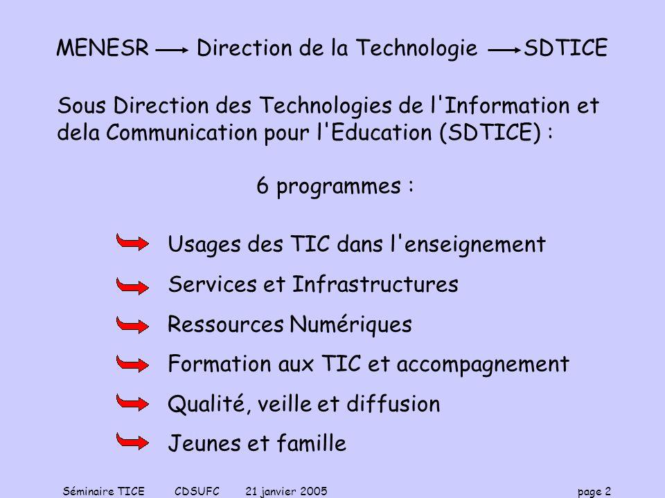 Séminaire TICE CDSUFC 21 janvier 2005 page 3 Quelques éléments : La société entre dans « lère du numérique » Évolution très rapide Plan RE/SO 2007 (pour une REpublique numérique dans la SOciété de linformation) Implication forte de lÉducation Nationale Prise en compte des TIC(E) –Matériel –Développement des réseaux –Développement des services Mise à distance de la formation UNT/UNR ENT (Bureau Virtuel) Certifications UNT : Université Numérique Thématique UNR : Université Numérique en Région ENT : Environnement Numérique de Travail