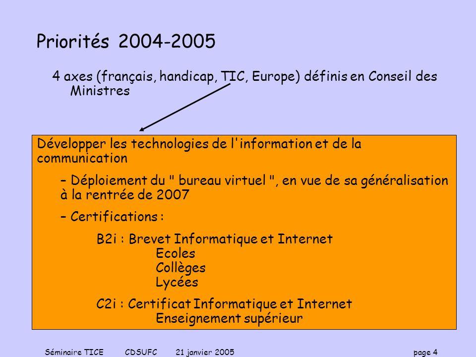 Séminaire TICE CDSUFC 21 janvier 2005 page 4 Priorités 2004-2005 4 axes (français, handicap, TIC, Europe) définis en Conseil des Ministres Développer