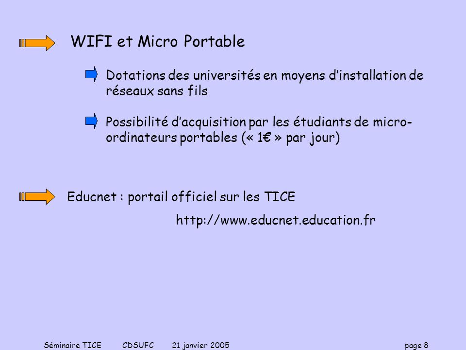 Séminaire TICE CDSUFC 21 janvier 2005 page 8 WIFI et Micro Portable Dotations des universités en moyens dinstallation de réseaux sans fils Possibilité