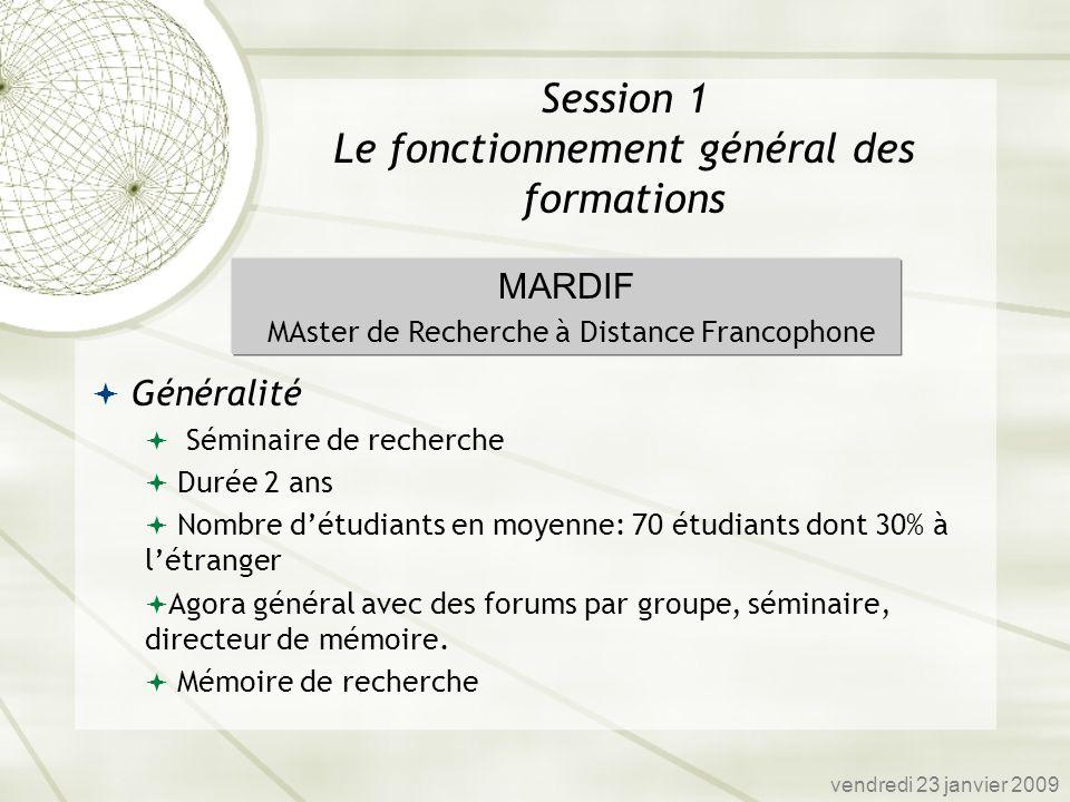 Généralité Séminaire de recherche Durée 2 ans Nombre détudiants en moyenne: 70 étudiants dont 30% à létranger Agora général avec des forums par groupe