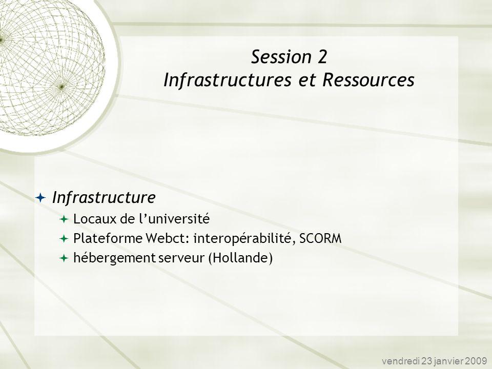 Infrastructure Locaux de luniversité Plateforme Webct: interopérabilité, SCORM hébergement serveur (Hollande) vendredi 23 janvier 2009 Session 2 Infra