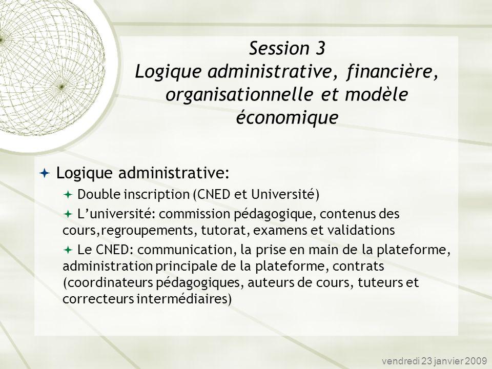 Logique administrative: Double inscription (CNED et Université) Luniversité: commission pédagogique, contenus des cours,regroupements, tutorat, examen