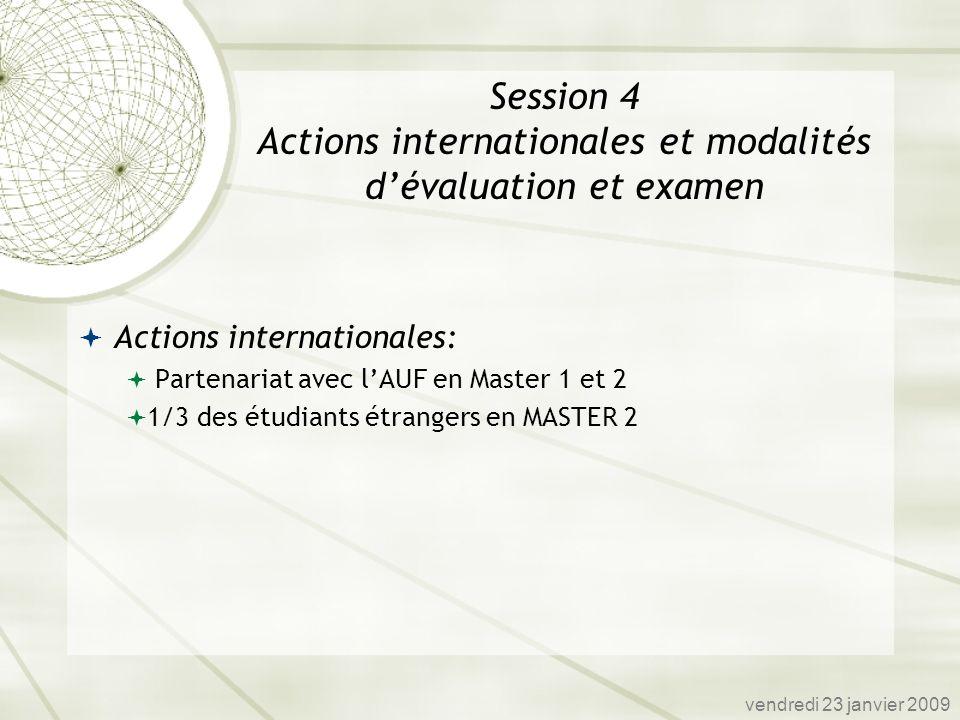 Actions internationales: Partenariat avec lAUF en Master 1 et 2 1/3 des étudiants étrangers en MASTER 2 vendredi 23 janvier 2009 Session 4 Actions int