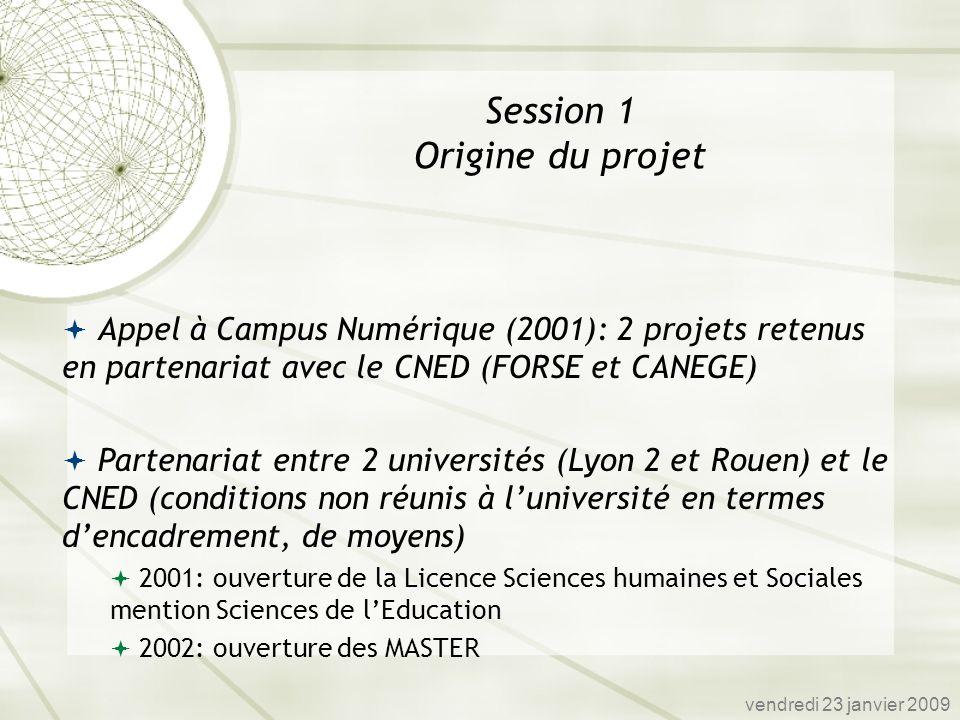 Appel à Campus Numérique (2001): 2 projets retenus en partenariat avec le CNED (FORSE et CANEGE) Partenariat entre 2 universités (Lyon 2 et Rouen) et