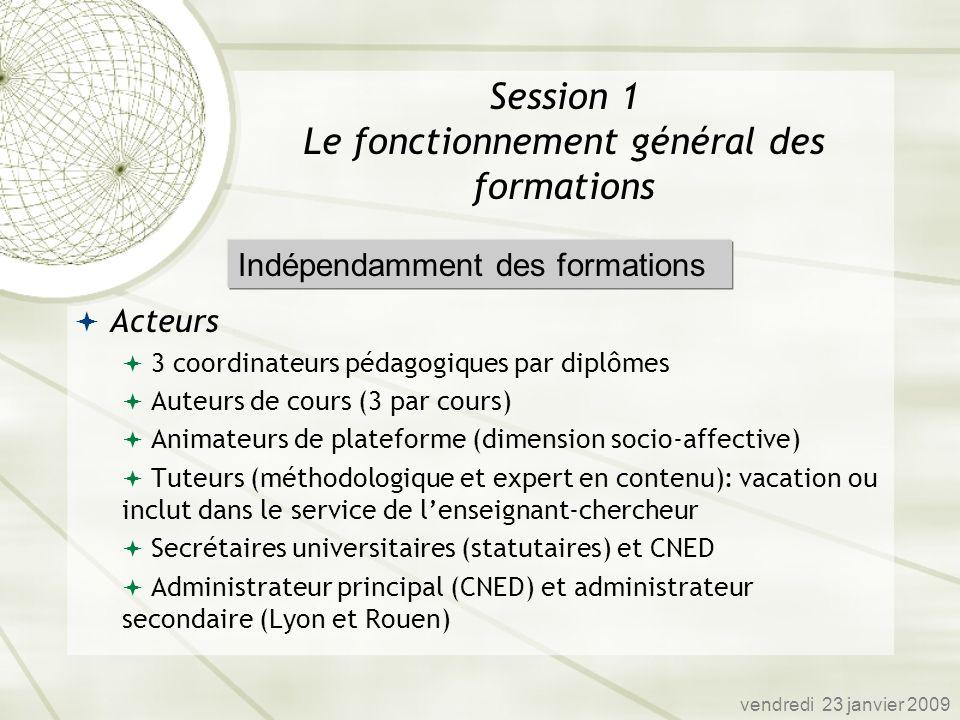 Session 1 Le fonctionnement général des formations Acteurs 3 coordinateurs pédagogiques par diplômes Auteurs de cours (3 par cours) Animateurs de plat