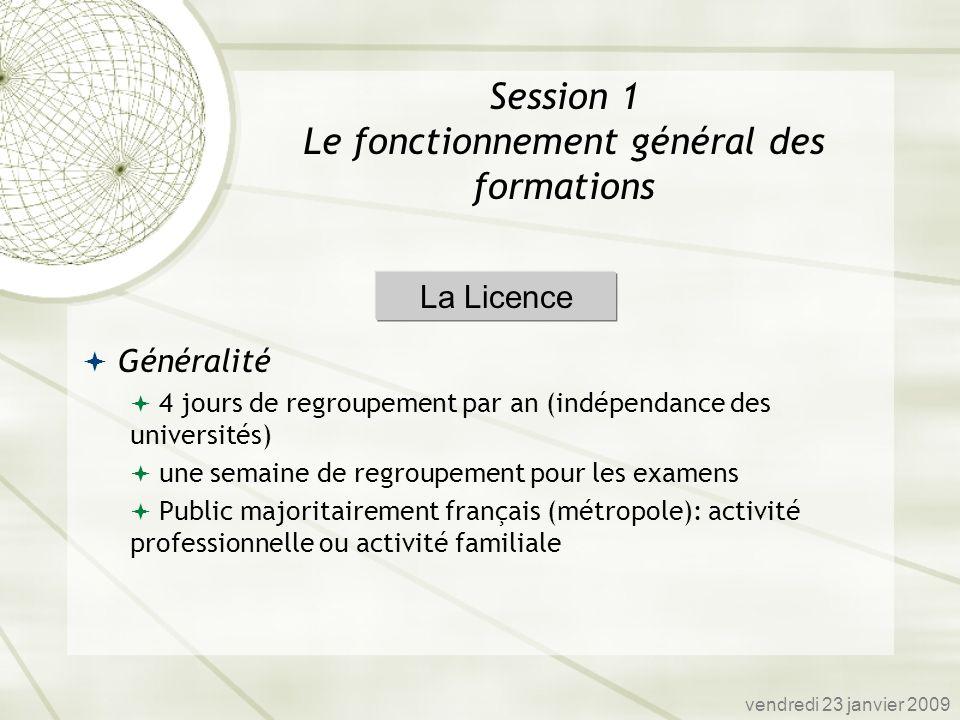 Généralité 4 jours de regroupement par an (indépendance des universités) une semaine de regroupement pour les examens Public majoritairement français