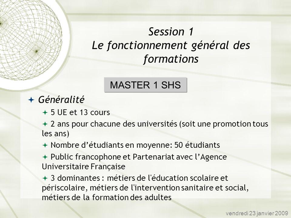 Généralité 5 UE et 13 cours 2 ans pour chacune des universités (soit une promotion tous les ans) Nombre détudiants en moyenne: 50 étudiants Public fra