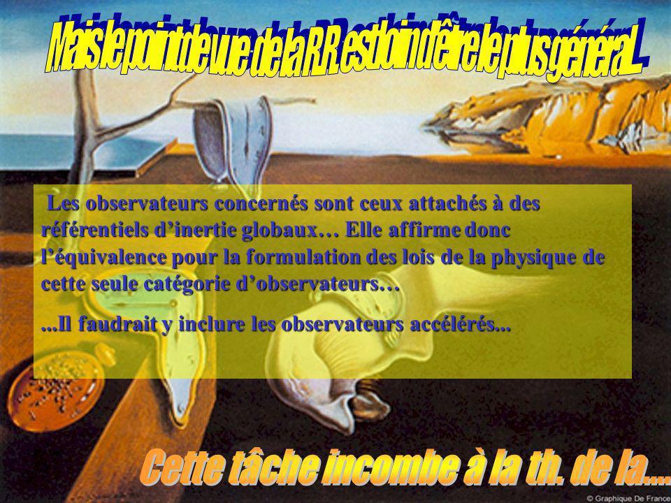 Les observateurs concernés sont ceux attachés à des référentiels dinertie globaux… Elle affirme donc léquivalence pour la formulation des lois de la physique de cette seule catégorie dobservateurs…...Il faudrait y inclure les observateurs accélérés...