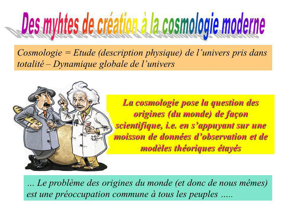Cosmologie = Etude (description physique) de lunivers pris dans totalité – Dynamique globale de lunivers La cosmologie pose la question des origines (du monde) de façon scientifique, i.e.