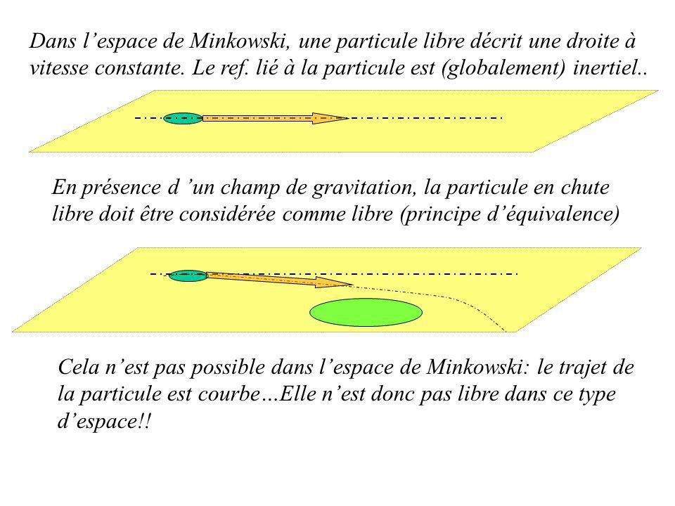Dans lespace de Minkowski, une particule libre décrit une droite à vitesse constante.