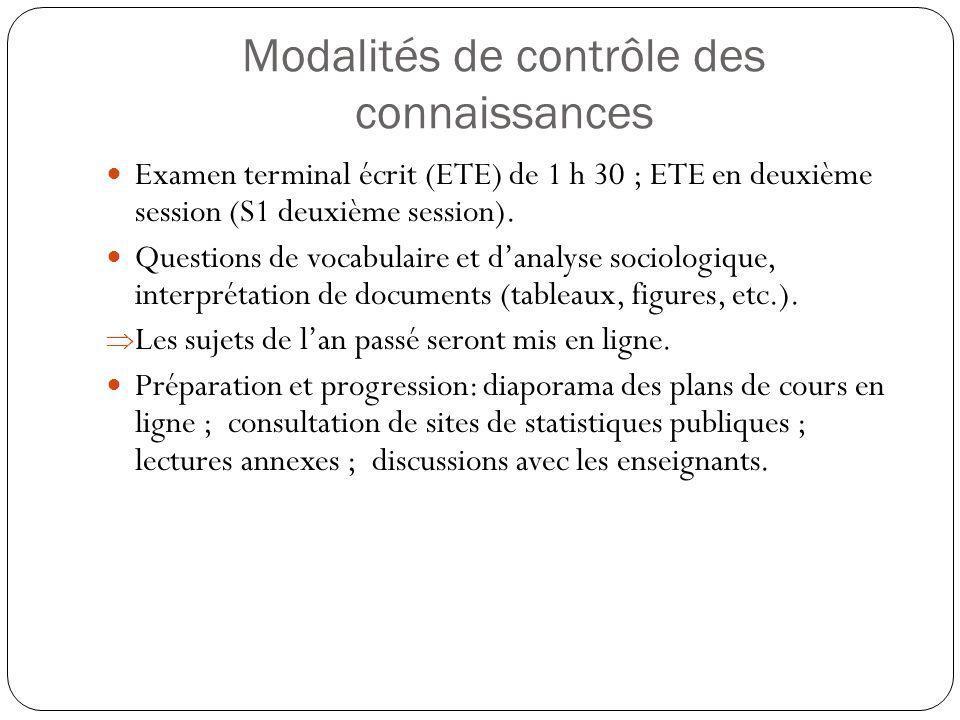 Modalités de contrôle des connaissances Examen terminal écrit (ETE) de 1 h 30 ; ETE en deuxième session (S1 deuxième session).