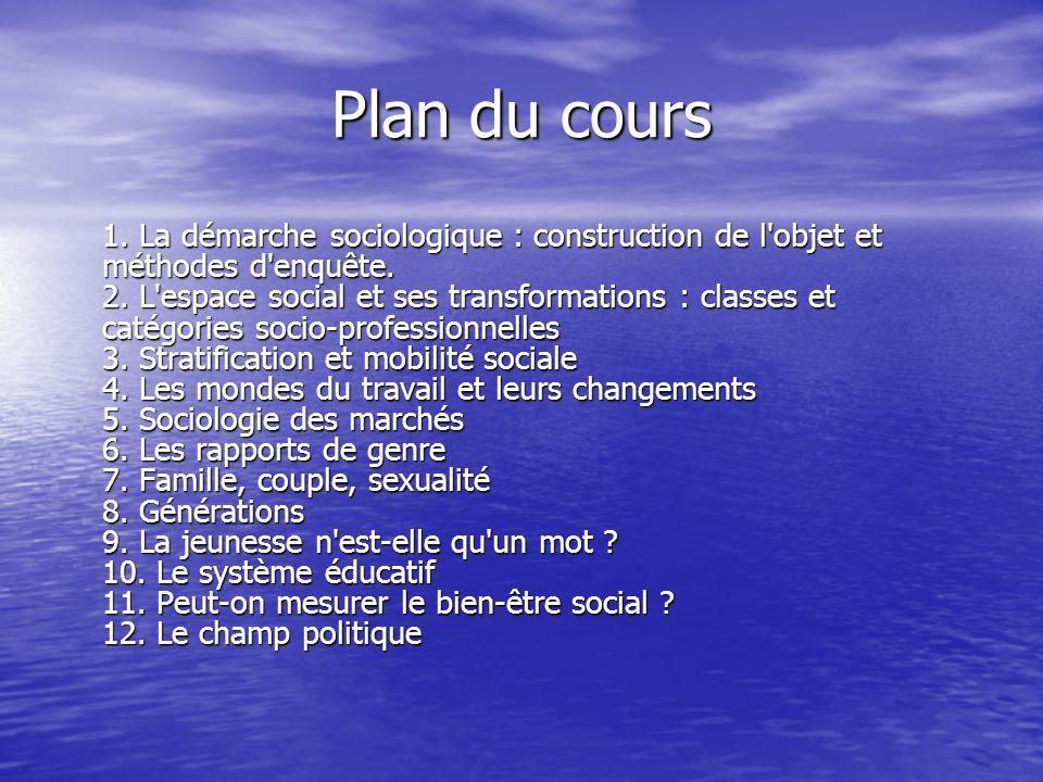Plan du cours 1.La démarche sociologique : construction de l objet et méthodes d enquête.