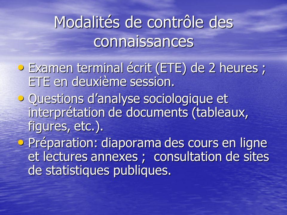 Modalités de contrôle des connaissances Examen terminal écrit (ETE) de 2 heures ; ETE en deuxième session.