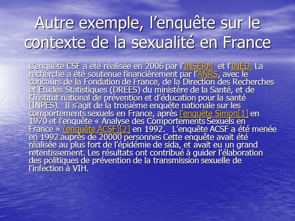 Autre exemple, lenquête sur le contexte de la sexualité en France Lenquête CSF a été réalisée en 2006 par lINSERM et lINED. La recherche a été soutenu