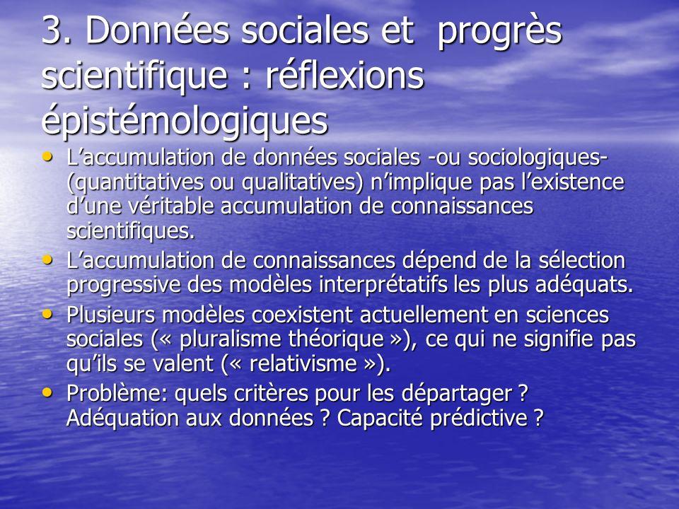3. Données sociales et progrès scientifique : réflexions épistémologiques Laccumulation de données sociales -ou sociologiques- (quantitatives ou quali