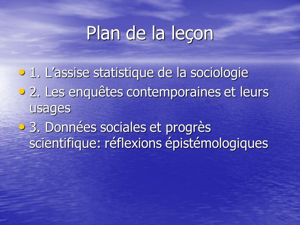 Plan de la leçon 1. Lassise statistique de la sociologie 1. Lassise statistique de la sociologie 2. Les enquêtes contemporaines et leurs usages 2. Les
