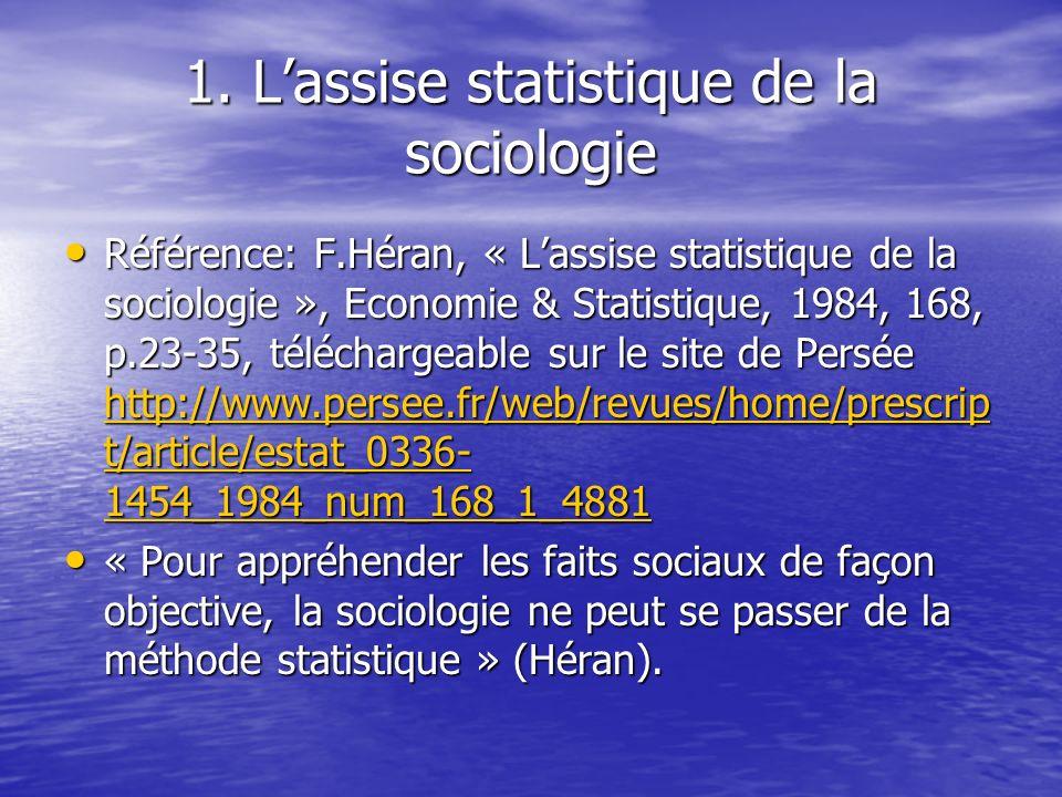 1. Lassise statistique de la sociologie Référence: F.Héran, « Lassise statistique de la sociologie », Economie & Statistique, 1984, 168, p.23-35, télé
