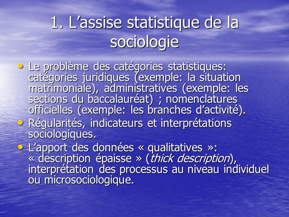 1. Lassise statistique de la sociologie Le problème des catégories statistiques: catégories juridiques (exemple: la situation matrimoniale), administr