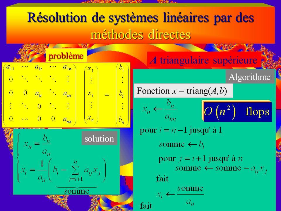 Résolution de systèmes linéaires par des méthodes directes A triangulaire inférieure problème solution
