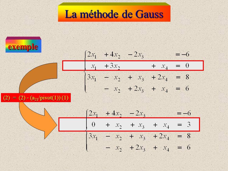 (2) = (2) - (a 21 /pivot(1)) (1) La méthode de Gauss exemple