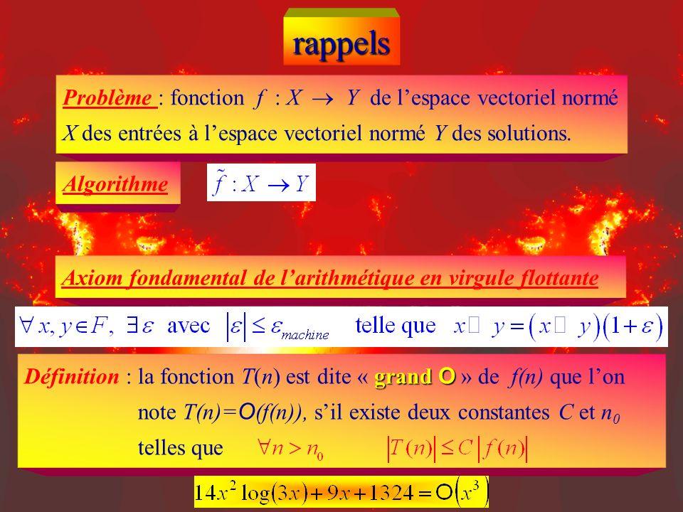 rappels grand O Définition : la fonction T(n) est dite « grand O » de f(n) que lon note T(n)= O (f(n)), sil existe deux constantes C et n 0 telles que Problème : fonction f : X Y de lespace vectoriel normé X des entrées à lespace vectoriel normé Y des solutions.