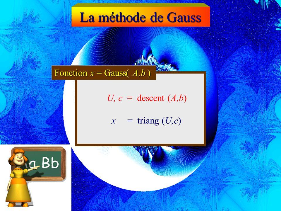 Fonction A,b = descent (A,b) Triangularisation La méthode de Gauss