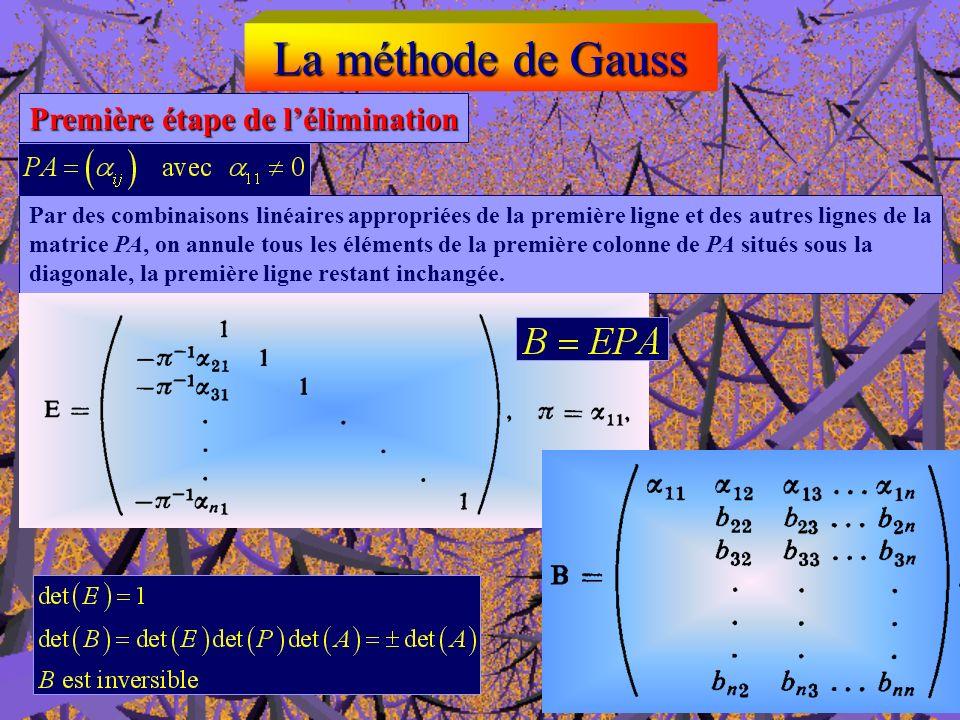La méthode de Gauss Première étape de lélimination premier pivot matrice de permutation P Lun au moins des éléments de la première colonne est différe
