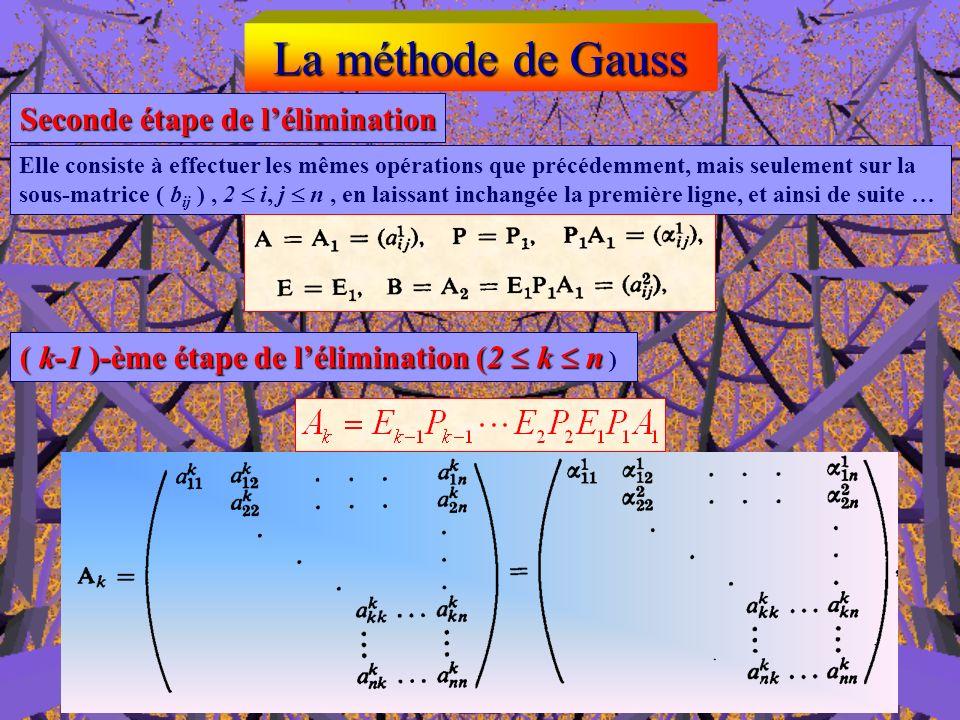 La méthode de Gauss Première étape de lélimination Par des combinaisons linéaires appropriées de la première ligne et des autres lignes de la matrice