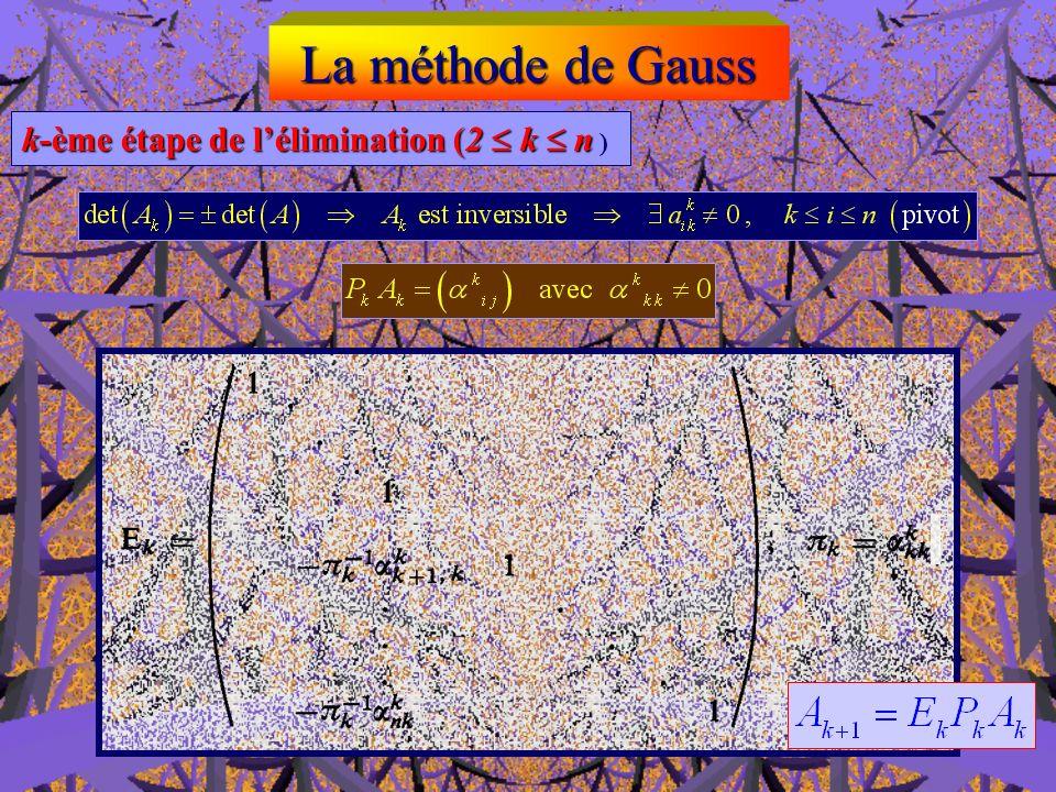 La méthode de Gauss Seconde étape de lélimination Elle consiste à effectuer les mêmes opérations que précédemment, mais seulement sur la sous-matrice