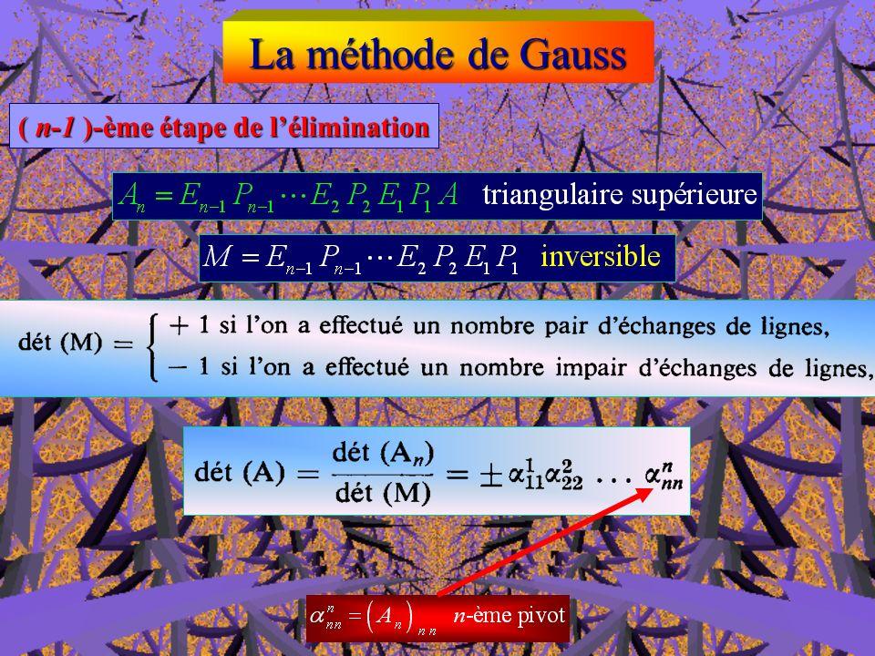 La méthode de Gauss k-ème étape de lélimination (2 k n k-ème étape de lélimination (2 k n )