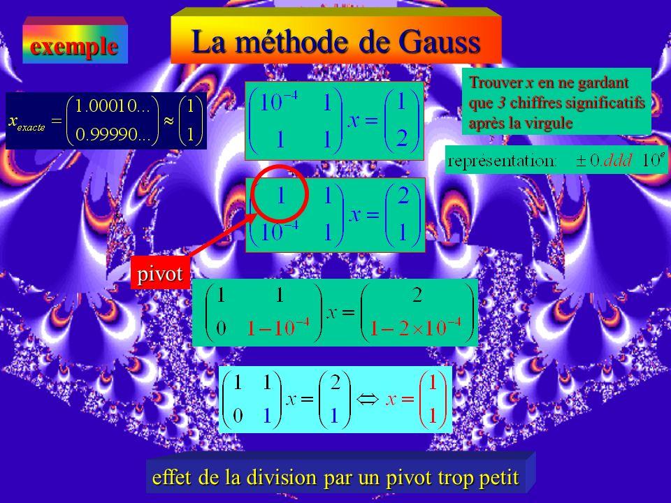 exemple Trouver x en ne gardant que 3 chiffres significatifs après la virgule pivot Que se passe til si on prend le système à lenvers…?