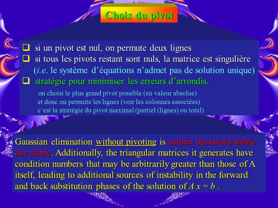 La méthode de Gauss exemple Trouver x en ne gardant que 3 chiffres significatifs après la virgule pivot effet de la division par un pivot trop petit