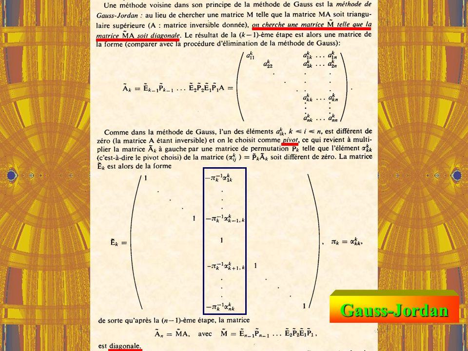 FLOPS Formules de Cramer Pour n = 10 par exemple, on obtient environ : 700 opérations pour Gauss 700 opérations pour Gauss 400 000 000 opérations pour