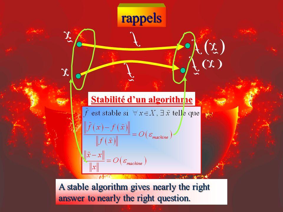 rappels Problème : fonction f : X Y de lespace vectoriel normé X des entrées à lespace vectoriel normé Y des solutions. Algorithme Stabilité dun algor